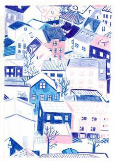 Building Illustration, Landscape Illustration, Cute Illustration, Bloom Book, Monochromatic Art, Laurel, Arte Sketchbook, Colorful Wall Art, Art Party