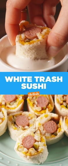 White Trash Sushi Is The Classless Snack You Can't Help But LoveDelish Sushi Party, Party Snacks, Appetizers For Party, Halloween Appetizers, Cheese Appetizers, Appetizer Ideas, Appetizer Recipes, Hillbilly Party, Redneck Party