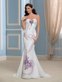 Unique Sequins Embroidery Strapless Mermaid Wedding Dress