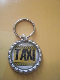 Taxi Bottlecap Keychain