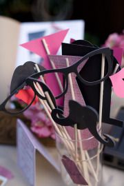 Love this prop idea, coupled with a photo booth for the reception, makes for tons of fun