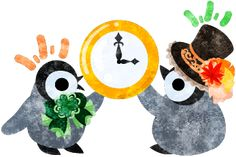 おしゃれで可愛い赤ちゃんペンギンと時計