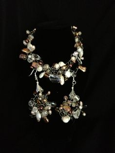 Mocha chino necklace and earrings by JerseaGirlSeaGlass on Etsy, $55.00