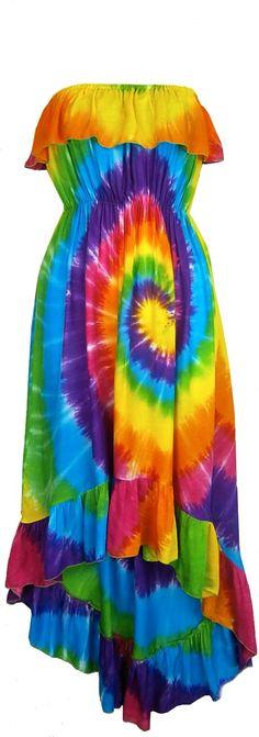 Rainbow Spiral Tie-Dye Flamenco Dress