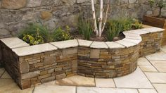 garden seat stone and sleepers - Google Search