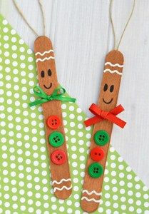 Easy to make DIY Popsicle Gingerbread Man Christmas Ornament Craft for kids – Christmas Crafts Homemade Christmas Crafts, Kids Christmas Ornaments, Christmas Crafts For Kids To Make, Preschool Christmas, Christmas Diy, Ornaments Ideas, Christmas Crafts For Preschoolers, Kids Ornament, Homemade Ornaments