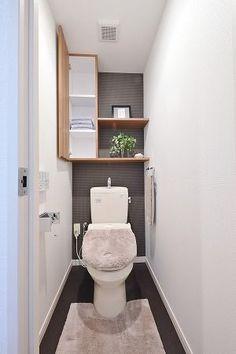 北九州市小倉南区の新築分譲マンション、サンパーク徳力IIトイレ収納 Toilet Room Decor, Small Toilet Room, Wc Design, Toilet Design, Small Room Interior, Bathroom Interior, Tiny House Bathroom, Small Bathroom, Bathrooms