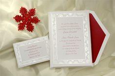 Snowflake Pearl Inner Border Wedding Invitation