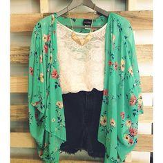 silk kimono style cardigan, lace, and high waisted shorts
