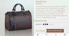 Louis Vuitton Sequins Damier Paillettes Speedy 30 in Blue : 2013 Prefall
