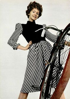 Vintage Bicycle Style: 1970s black and white dress