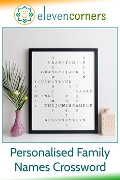 Personalised family names crossword wall art - all the family together, interconnected, on one print. Unique personalised family gift idea. #elevencorners #giftideas #family #crosswords Personalised Family Print, Personalized Gifts For Dad, Personalized Wall Art, Family Gifts, Family Names, Grandparent Gifts, Fathers Day Gifts, Old Fonts, Christmas Presents For Dad