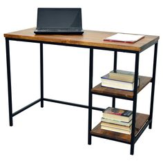 The simple functional design of the Finn Desk brings new heights to the word minimalism. It is paired with a blackened metal frame with desk top and shelves finished in a warm chestnut finish.