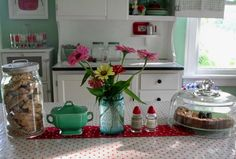 LOVE these colors together. I also want a Hoosier cabinet one day!