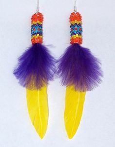 Image from http://www.firstpeople.us/native-american-art-for-sale/painted-pony/beaded-earrings/beaded-yellow-and-purple-feather-earrings-lge.jpg.