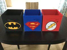 Batman Fabric Bin Superhero Theme Boys Room by SewFreakinAwesome Superman Bedroom, Batman Room, Superhero Room, Superhero Fabric, Fabric Storage Boxes, Fabric Bins, Cube Storage, Fabric Basket, Boys Room Decor