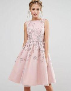 Chi Chi London Embroidered Midi Dress