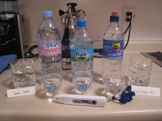 Bottled water. current list at http://corn-freefoods.blogspot.com/2012/06/corn-free-list-june-2012.html  Crystal Geyser - flat water only - CG Roxane bottler {{Reactions reported to Ouachita Spring (Norman, AK) source.  Crystal Springs - Blue Ridge GA source  Iceland Glacier Water  Voss (Sparkling & Still)  Whole Foods 365 Spring Water        bubbly:  Canada Dry Sparkling water GF  Gerolsteiner  Perrier - glass only  Voss Sparkling water GF