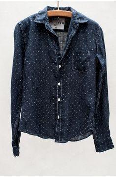 985628f0 frank & eileen: Navy Polka Dot Barry Shirt Minimalist Wardrobe  Essentials, Quirky Fashion