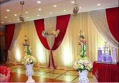 backdrop frame on sale at reasonable prices, buy grape and white wedding backdrop curtain with swag wedding drapes , wedding stage backdrop party decor with sequin from mobile site on Aliexpress Now! Wedding Stage Backdrop, Wedding Draping, Wedding Stage Decorations, Backdrop Decorations, Red Wedding, Luxury Wedding, Cheap Backdrop, Backdrop Frame, Wedding Mandap