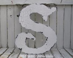 Wooden CUT OUT LETTER S, Shabby Chic Decor, Vintage Letters, Distressed Letters, Letter by My Primitive Boutique. $45.00, via Etsy.