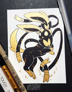 If you remember the Black and Gold Vaporeon I drew a couple months ago, here's the rest of the Eeveelutions in the same style! - Album on Imgur
