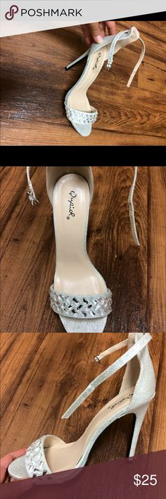 Silver Heel Silver rhinestone heels worn once for ceremony, tops 4 hours. Charlotte Russe Shoes Heels