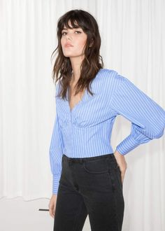 Cropped Blouse - Blue Stripe - Blouses - & Other Stories Crop Blouse, Crop Shirt, Blue Blouse, Ruffle Blouse, Fashion Story, 90s Fashion, Blouses For Women, Ready To Wear, Bell Sleeve Top