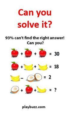 Wie halt im zweiten Schritt einfach ein Fehler ist !  Kokosnuss+Apfel+Banane= 16