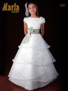 Vestido de comunión niña seda italiana Marla C231
