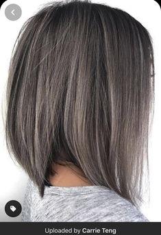 Dark Grey Hair Color, Grey Wig, Brown Hair Colors, Color Blue, Ash Grey, Gray Hair, Hair Colour, Angled Bob Haircuts, Choppy Bob Hairstyles