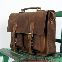 "Vintage Handmade Crazy Horse Leather Briefcase / Messenger Bag -- with a 14"" 15"" Laptop / 13"" 15"" MacBook Sleeve (J27)"