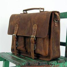 "Vintage Handmade Crazy Horse Leather Briefcase / Messenger Bag -- with a 14"" 15"" Laptop / 13"" 15"" MacBook Sleeve (J27)"