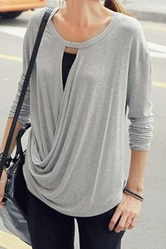 Simple Design Scoop Neck Long Sleeve Loose-Fitting T-Shirt For Women