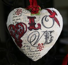 Paperlicious Designs: Altered Paper Mache Heart Ornaments