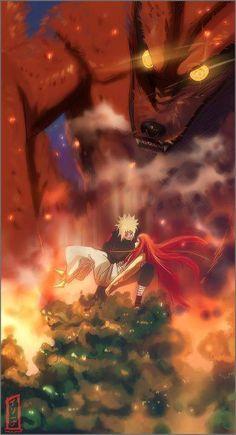 Minato Namikaze,Kushina Uzumaki,Kyubi,Nine Tails,Kurama - Naruto,Anime