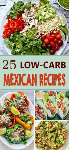 25 Delicious Low-Carb Mexican Recipes -- Recipes Included:  Mexican Cauliflower Rice | Low-Carb Slow Cooker Sour Cream Chicken Enchiladas | Low-Carb Grilled Chicken & Avocado Quesadillas | Mexican Fajita Kabobs | Mexican Coffee – Low Carb And Sugar Free | Beef And Chorizo Empanadas | Mexican Chicken Tortilla Soup | Cheesy Chipotle Cauliflower Casserole | Mexican Cauliflower Patties | Chili Lime Chicken Marinade Recipe | Quick & Easy Guacamole | and much more... Check out for all the recipes.