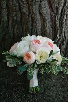 garden rose bouquet, photo by John Newsome http://ruffledblog.com/romantic-la-jolla-beach-wedding #flowers #bouquet #gardenrose