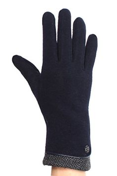Elegant Herringbone texting gloves for women with piping and button details!