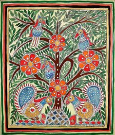 Madhubani art (or Mithila painting) is a style of Indian painting, practiced in the Mithila region of the Indian subcontinent. Madhubani Paintings Peacock, Madhubani Art, Indian Paintings, Contemporary Decorative Art, Indian Folk Art, India Art, Hand Art, Traditional Paintings, Decoupage