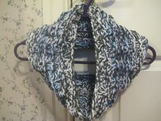 Handknitted Grey, Blue and White Cowl Neck Warmer £7.50