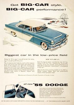 1955 Dodge Mayfair Coupe vintage ad. First in fashion with two tone color symphony. First true wrap around windshield. Biggest car in the low priced field.