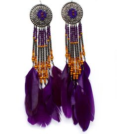 LARGE PURPLE FEATHER AND WOOD BEAD LADIES FASHION EARRINGS Ladies Fashion, Womens Fashion, Feather Earrings, Fashion Earrings, Beads, Purple, Wood, Jewelry, Women's Work Fashion