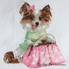"""Cross Stitch """"Chihuahua with a purse"""" by LiubovPonomareva on Etsy"""
