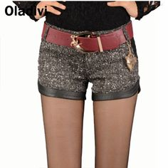 Find More Shorts Information about 2015 New Autumn and Winter Wool Blends Patchwork Leather Shorts Fashion Women Casual Short Trousers with Pocket Drop Shipping XL,High Quality Shorts from Oladivi Group - Minabell Fashion Store on Aliexpress.com