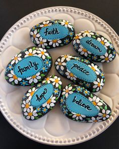 Affirmation Stones Words Of Encouragement Painted Rock Wedding Favors Anniversary Favors Inspirational Stone Hand Painted Rock - Painting Pebble Painting, Dot Painting, Pebble Art, Stone Painting, Stone Crafts, Rock Crafts, Crafts With Rocks, Deco Ethnic Chic, Hand Painted Rocks