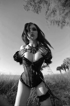 Goth; gothic; black and white; girl; sexy;