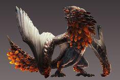 爆鱗竜 バゼルギウス」のCGイラストがこちら。獲物を求め、各地に出没している大型の飛竜種モンスター。爆発性の鱗を一面に撒き散らし、周囲に存在する全てのものを巻き込みながら狩りを行う。#モンハンワールド #MHW_Monster