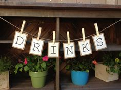 Drinks Bunting Banner / Sign for your Wedding Shower, Wedding, Baby Shower or Birthday Party. $13.50, via Etsy.