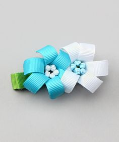Bubbly Bows Aqua & White Lilies Alligator Clip   Daily deals for moms, babies and kids